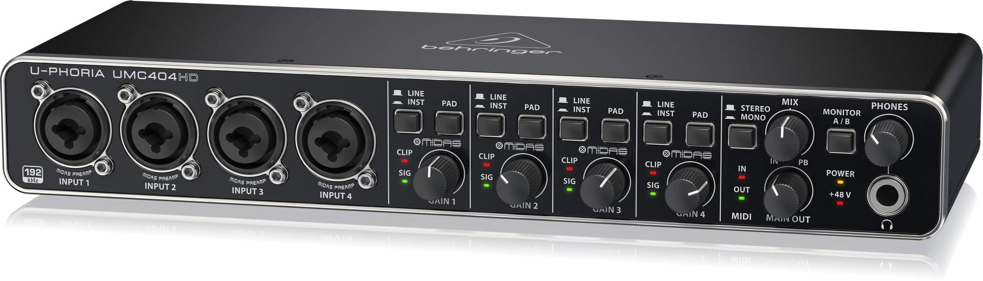 BEHRINGER UMC 404HD Audiophile 4X4 24-Bit/192 KHz USB Audio/Midi Interface with Midas Mic Preamplifiers Black by Behringer