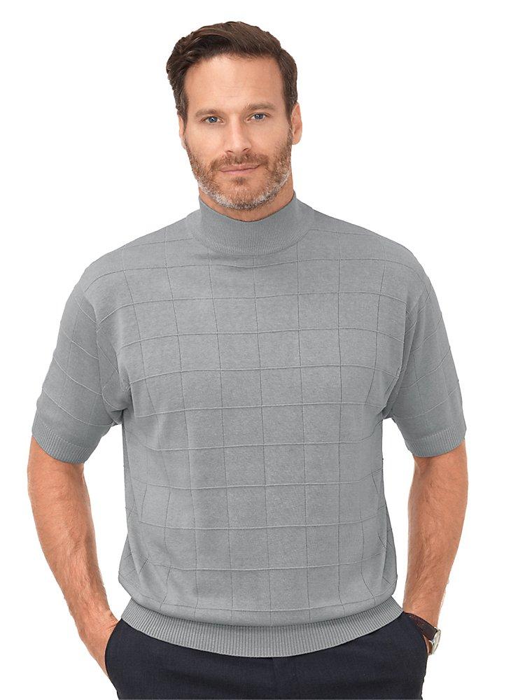 Paul Fredrick Men's Silk Grid Mock Neck Sweater Grey 2XL