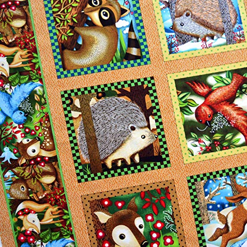 Woodland Animal Friends Quilt Block Fabric Panel - 12 Blocks (Great for Quilted Book Kit, Quilting, Sewing, Craft Projects, Wall Hangings, Throw Pillows and More) 23