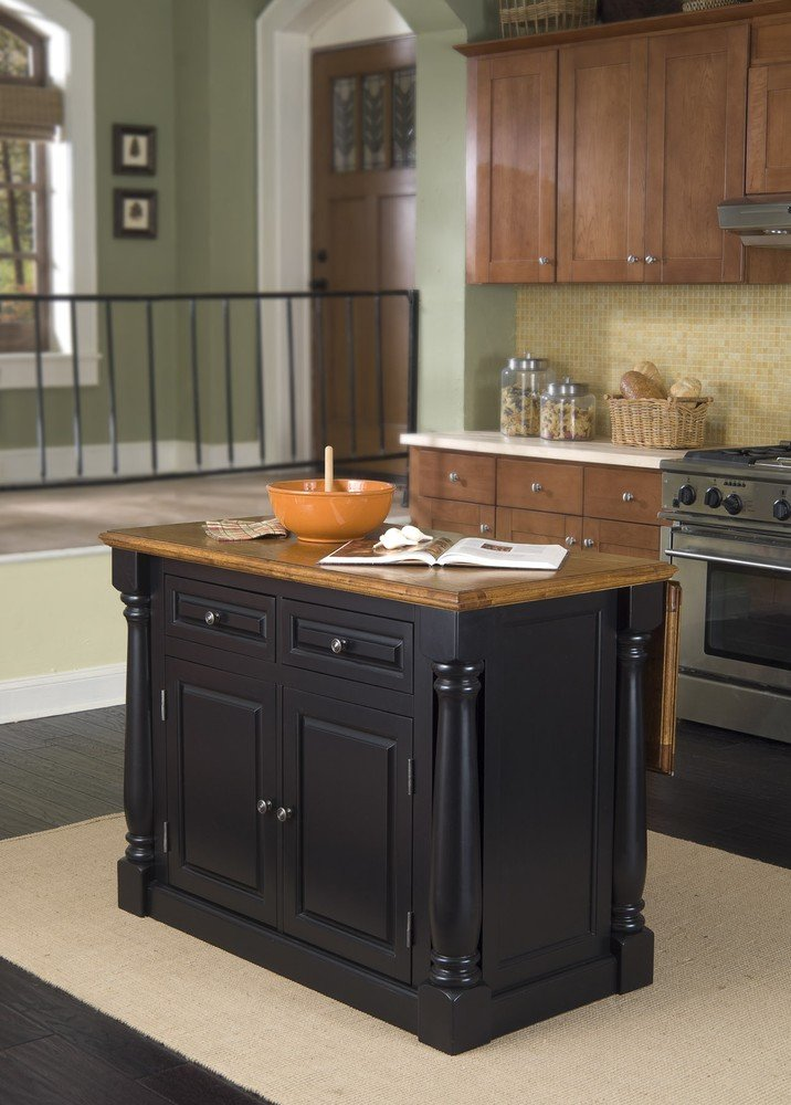 Amazon.com   Home Styles 5008 948 Monarch Kitchen Island With 2 Stool, Black  And Distressed Oak Finish   Kitchen Islands U0026 Carts