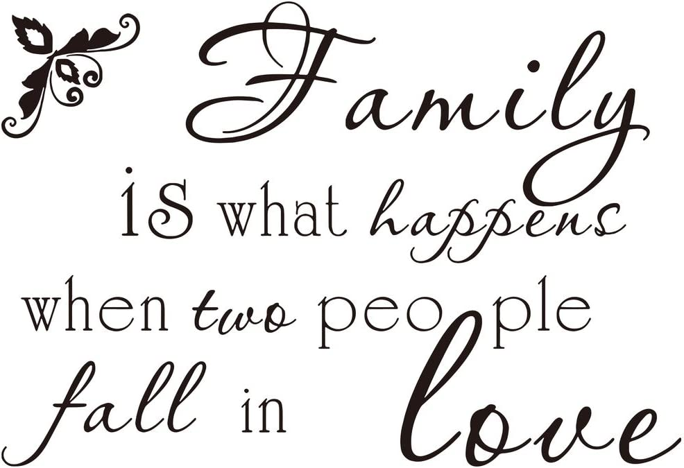 FAMILY IS WHAT HAPPENS WHEN TWO PEOPLE FALL IN LOVE Vinyl  Wall Stickers BLACK 1