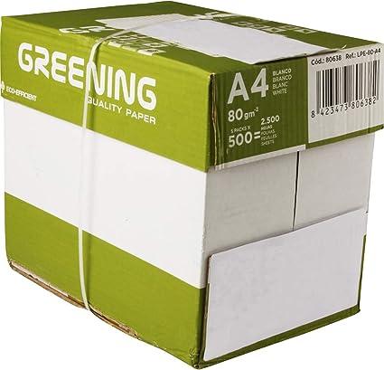 Liderpapel - Papel Fotocopiadora Greening Din A4 80 Gramos Caja de 5 Paquetes de 500 Hojas: Amazon.es: Oficina y papelería