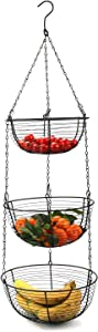 Tebery 3-Tier Black Hanging Basket Kitchen Heavy Duty WireFruit Organizer with Metal Ceiling Hooks