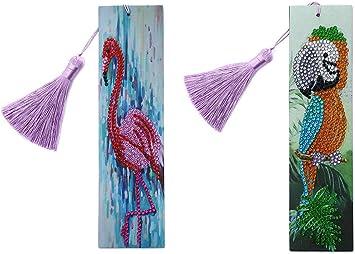 5D DIY Bookmark Diamond Painting Kit PU Leather Tassel Decor Handcrafts Art Gift