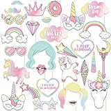 94ba7c5bee99 Veewon Unicorn Photo Booth Props Funny Rainbow Birthday Unicorn Party  Supplies Decorations