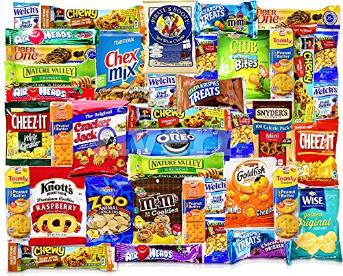 Blue Ribbon Care Package 39 Count Ultimate Sampler Mixed Bars, Crackers, Cookies, Candy Snacks Box for Office, Meetings, Schools, Friends & Family, Military, College, Fun Variety Pack