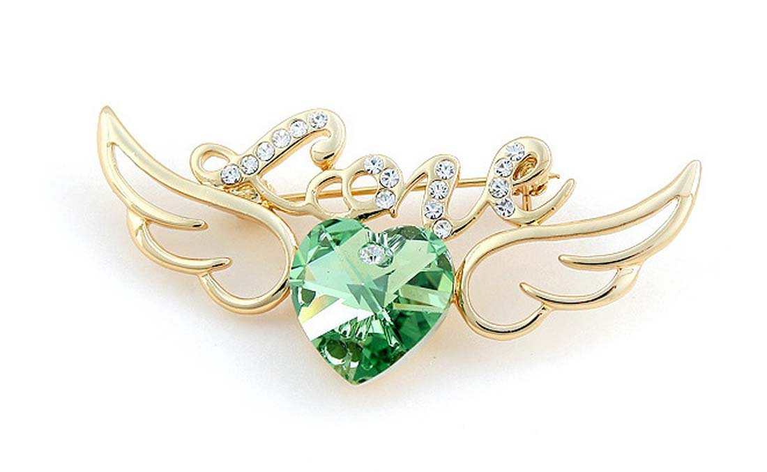 Blingbling Jewelry Gold Plated Austria Crystal Lovely Wig Heart Love Brooches Pins for Women Girl Angel of Love (Green)