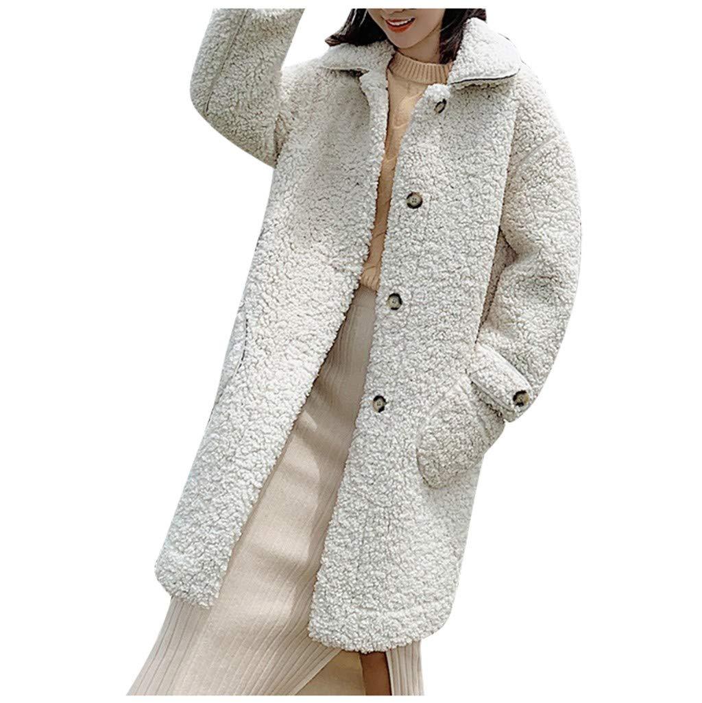 Zainafacai Women's Fuzzy Fleece Button Down Long Cardigan Coat Faux Fur Warm Winter Outwear Jackets with Pockets White by Zainafacai