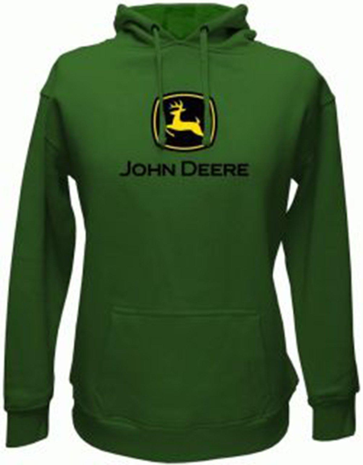 John Deere Men's Trademark Logo Core Hood Pullover Fleece, Green, Large