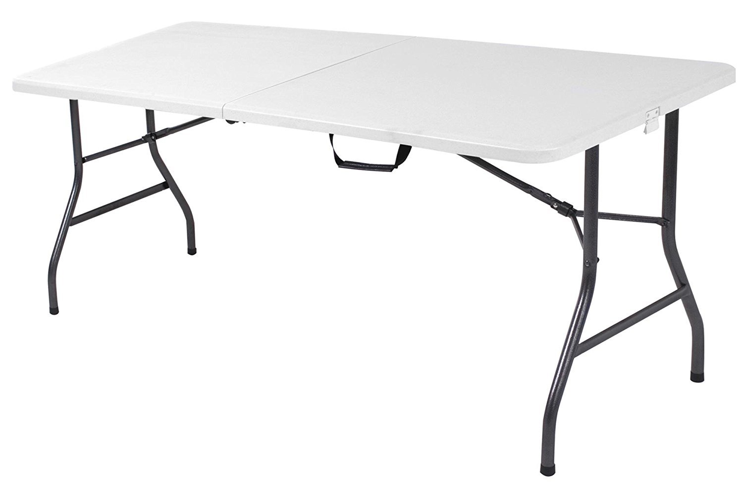 Folding Table With Handle.6 Foot Plastic Folding Table Folds In Half With Carrying Handle Rectangular Lightweight And Portable White Resin With Sturdy Steel Frame By