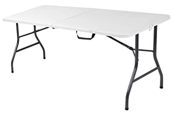 6 Foot Plastic Folding Table Folds In Half With Carrying Handle Rectangular Lightweight