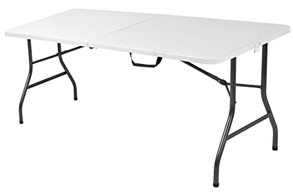 Amazon Com 6 Foot Plastic Folding Table Folds In Half With Carrying Handle Rectangular Lightweight And Portable White Resin With S Y Steel Frame