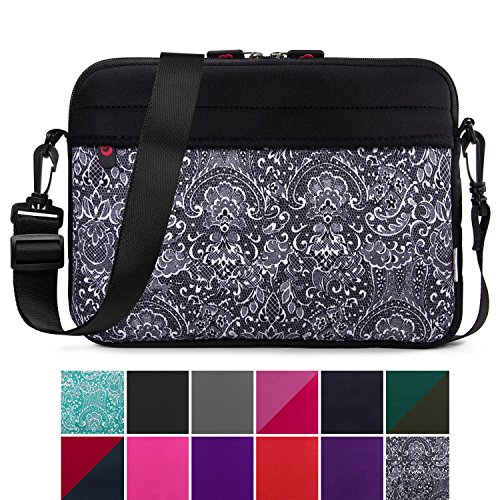 Netbook Notebook Sleeve Case - Kroo 10.6 Inch Laptop Sleeve Tablet Bag, Water Resistant Neoprene Notebook Computer Carrying Cover for Apple MacBook, Microsoft Surface, Chromebook (Black - Paisley Print)