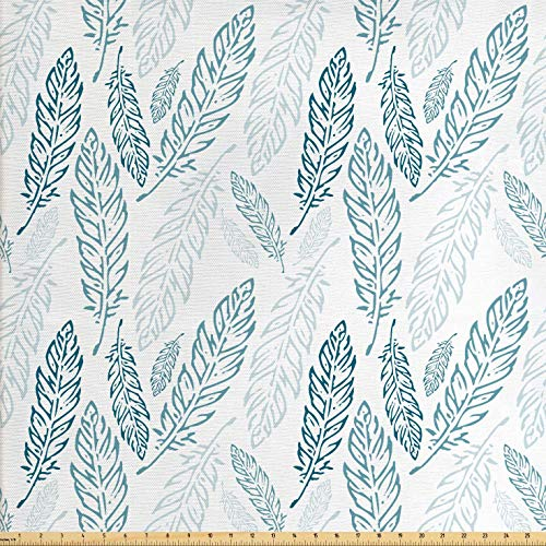 Blue Colored Fabric - Ambesonne Teal and White Fabric by The Yard, Pastel Colored Grunge Looking Feathers Flying Bohemian Ethnic, Decorative Fabric for Upholstery and Home Accents, 2 Yards, Teal Dark Blue White