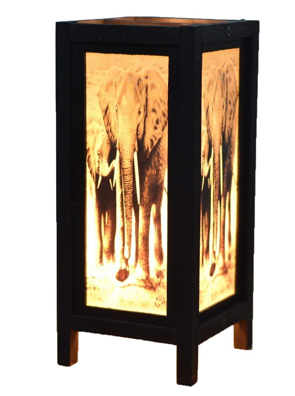 NAVA CHIANGMAI Decorative Lamp Thai Vintage Handmade Asian Oriental African Elephant Bedside Table Light Floor Wood Paper Lamp Shades Home Bedroom Garden Decoration Modern Design