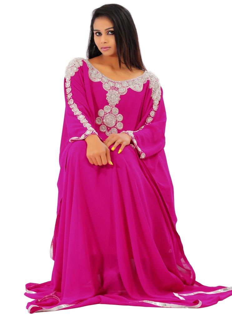 Leena Dubai Very Fancy Kaftan Luxury Crystal Beaded Caftan Abaya Wedding Dress (XXL Pink)
