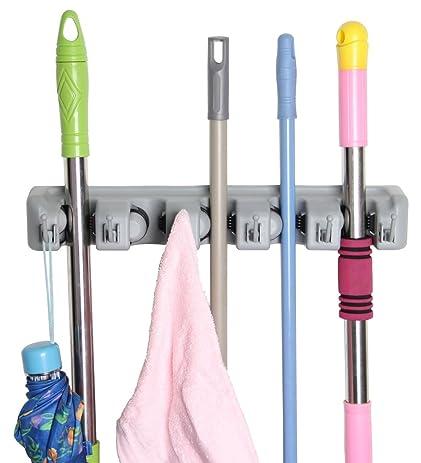 Eco Best(tm) Broom Mop Holder Hanger Garage Storage Hooks, 5 Position
