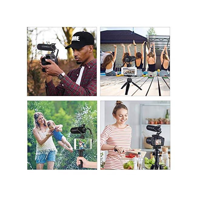 Micrófono de video Comica CVM-V30 LITE Micrófono de escopeta de condensador supercardioide en la cámara para Canon Nikon Sony Panasonic Cámara / DSLR / iPhone Samsung Huawei, Negro.