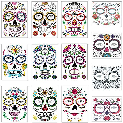 Voodoo Halloween Makeup (COKOHAPPY Halloween Temporary Face Tattoos Makeup Kit (13 Pack), Day of the Dead Sugar Skull Floral Black Skeleton Web Red Roses Full Face Mask Stickers Tattoo Families Party)
