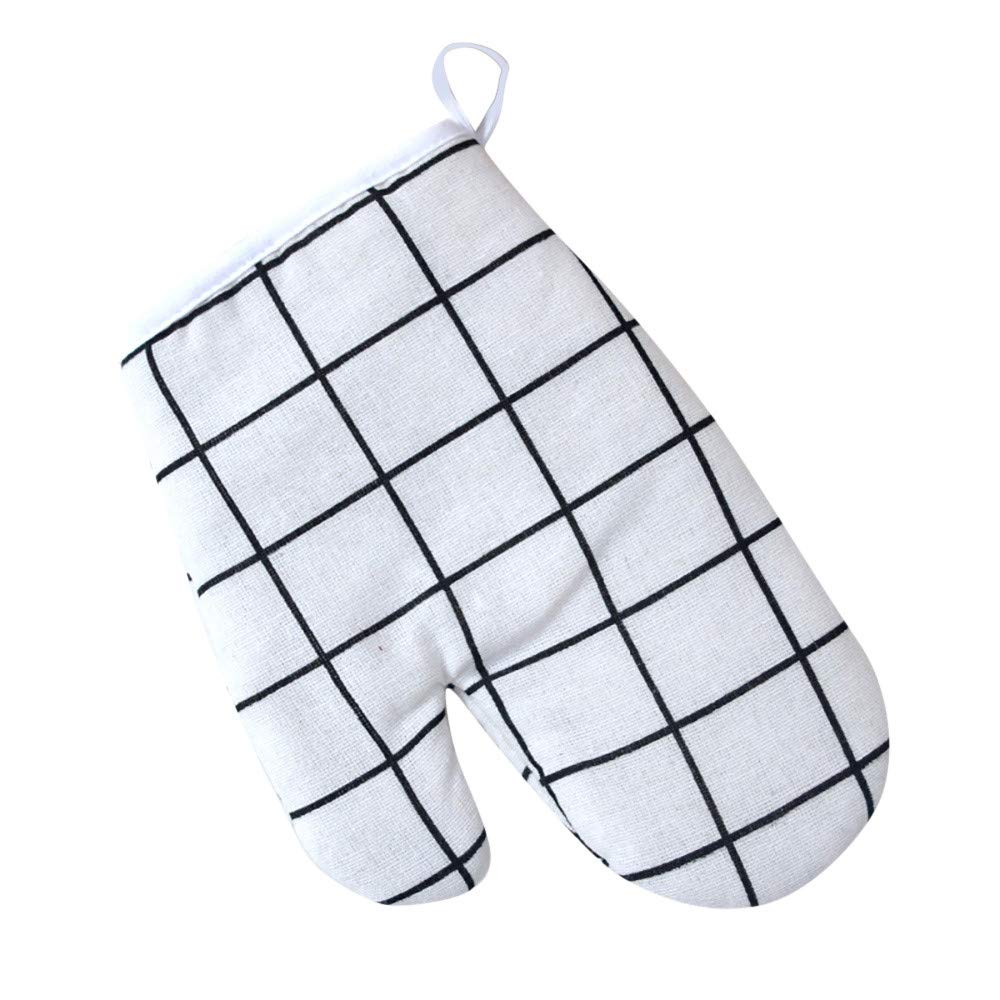 Cotton Gloves,FTXJ 1PCS Kitchen Cooking Cotton Microwave Oven Gloves Mitts Pot Pad Heat Proof Protected (4X16CM, A)