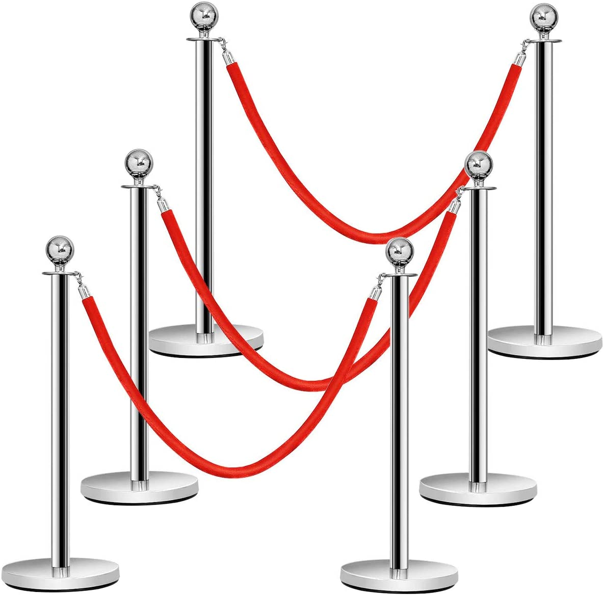 Black Crowd Control Rope Barrier AuInn 8 Feet Velvet Stanchion Rope Stanchion Queue Barrier Rope Velvet Rope with Mirror Polished Hooks