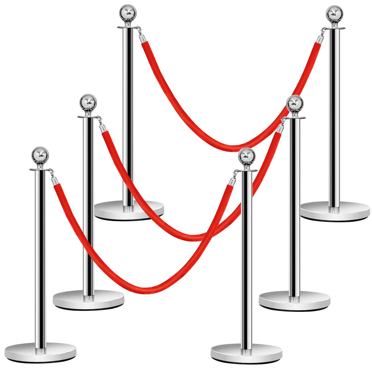Goplus 6Pcs Stanchion Set, Round Top Polished Stainless Stanchions Posts Queue Pole with 5Ft Red Velvet Rope, Crowd Control Barrier by Goplus