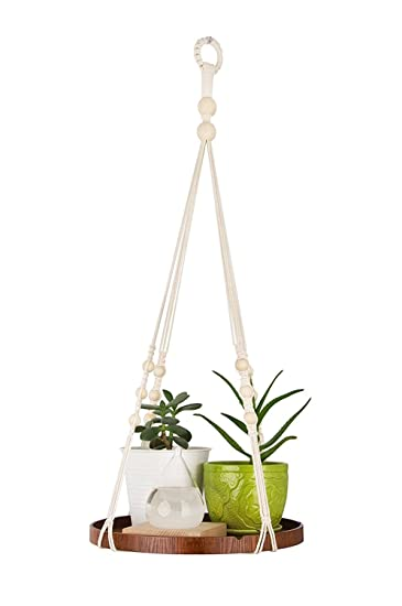 wall hanging plant pot holders  Amazon.com : Macrame Woven Wall Hanging Plant Hanger with Wood ...