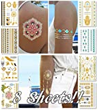 Metallic Temporary Tattoos for Women Teens Girls - 8 Sheets Gold Silver Temporary Tattoos Glitter Tattoo Designs Jewelry Tattoos - 100+ Color Flash Fake Waterproof Tattoo Stickers (Caicos) offers