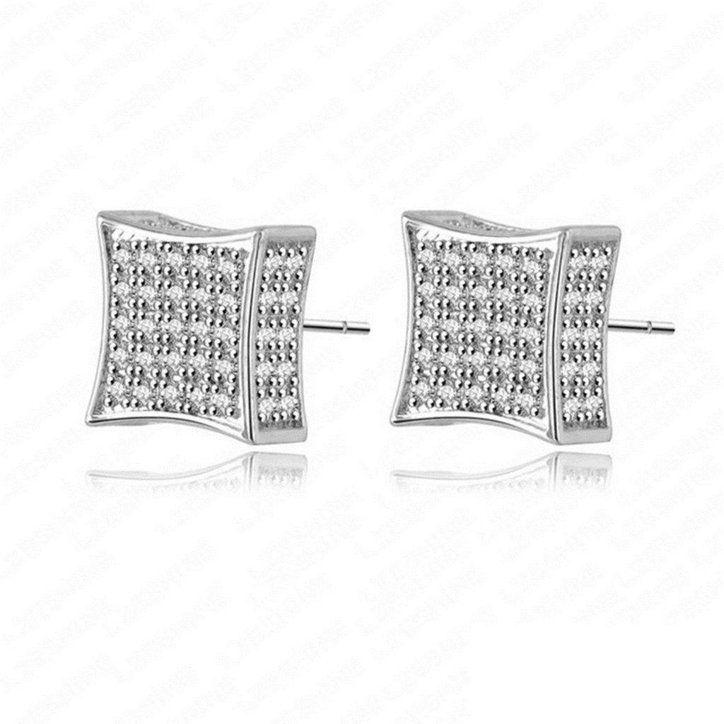 18K Gold Plated Womens Girls Stud Earrings White - Aooaz Jewelry