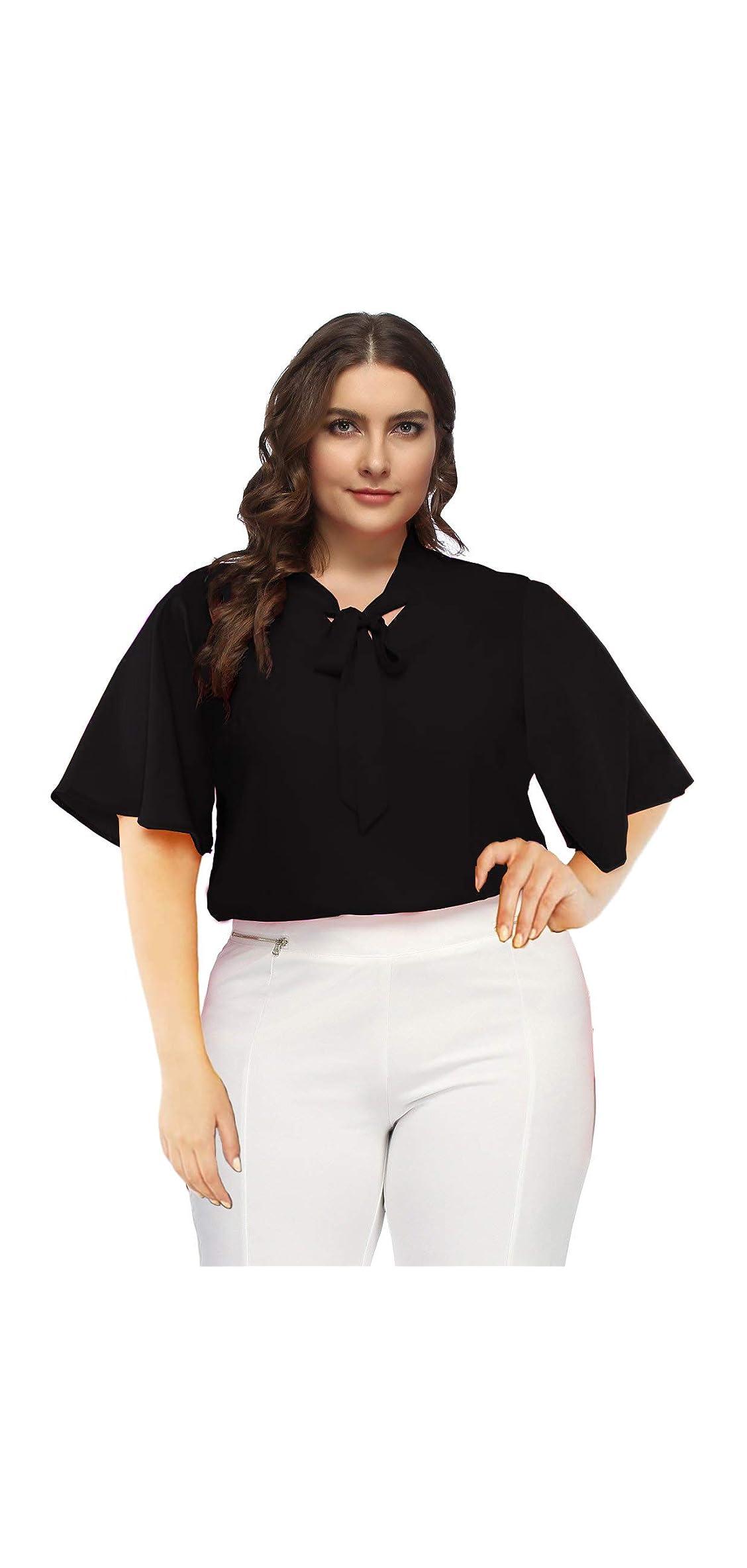 Women Plus Size Chiffon Shirt Bow Tie Neck Office