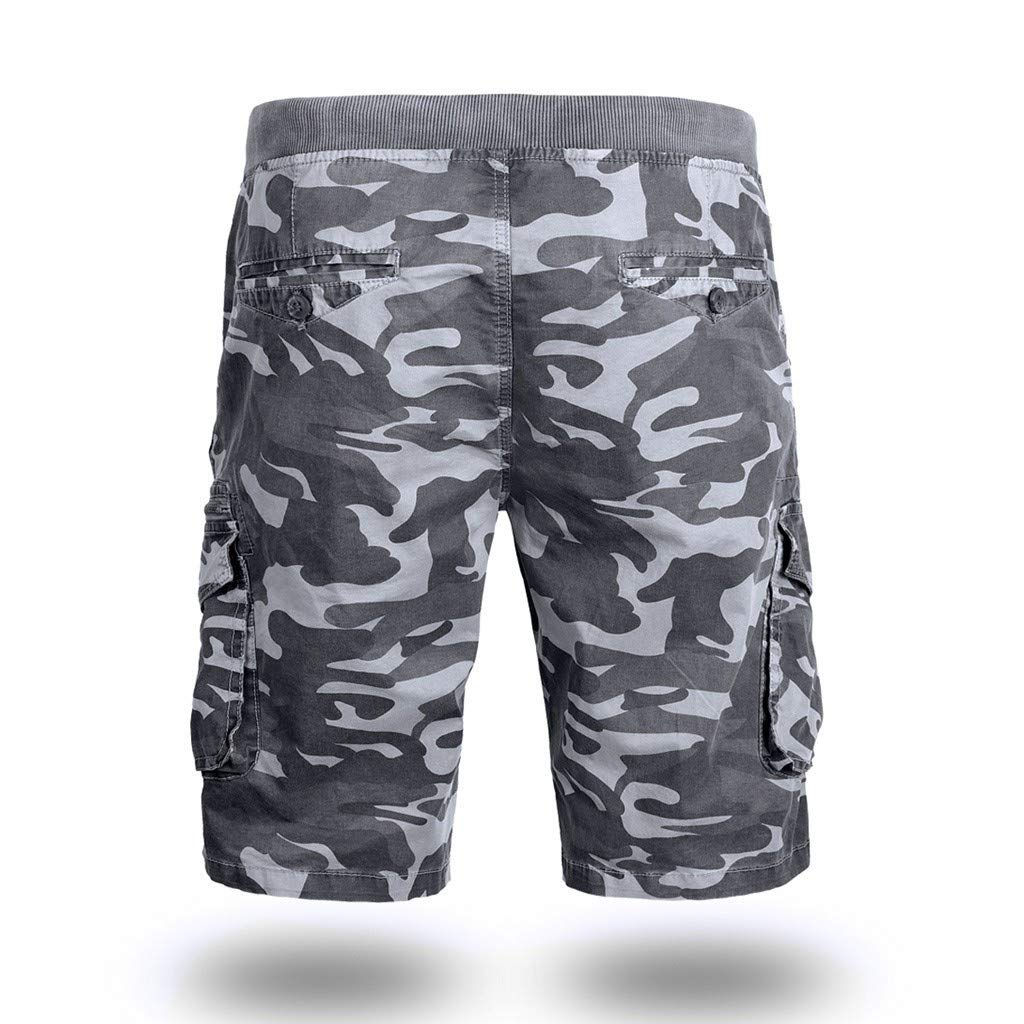 Camou Cargo Shorts Men,Donci Loose Belted 6 Pocket Multifunction Half Pants Solid Color Quality Durable Short Trousers