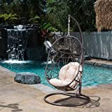Great Deal Furniture 234966 Guerneville Patio Furniture Outdoor ~ Indoor Egg-Shaped Hanging Chair, Gray