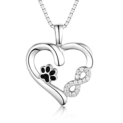 Women's Necklaces 925 Sterling Silver Infinity Hearts Pet Paw Print Pendant Necklace Best Gifts for Women with Gift Packed uoClO