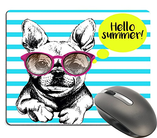French Bulldog Mouse Pad - Supwek Cute Gaming Mouse Pad Custom, Funny French Bull Dog Vector with Sunglasses Cute Navy Stripes, Personalized Design Thick Rubber Mouse Pads
