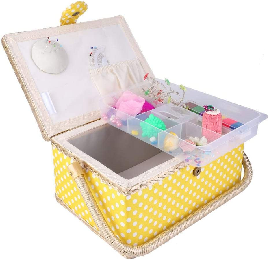 Built-in Pin Cushion and Interior Pocket Flip Type Sewing Basket Handmade Sewing Kit Storage Box with Removable Tray