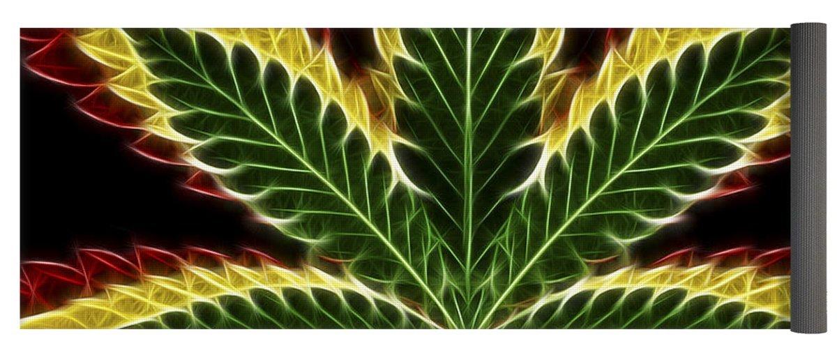 Pixels Yoga Mat w/ Bag ''Rasta Marijuana''