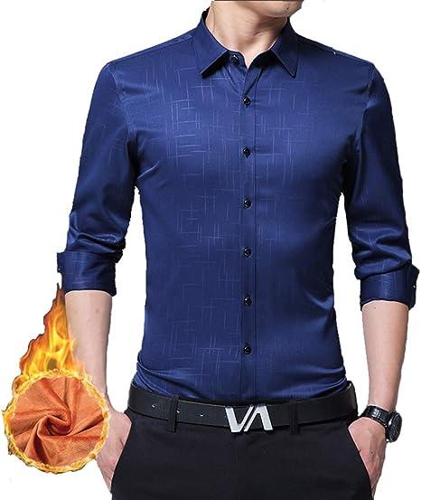 Versaerc Camisas de Lana de Color Puro para Hombres, Camisa Casual de Manga Larga Camisa Ajustada con Botones a Cuadros, 2, 2XL: Amazon.es: Deportes y aire libre