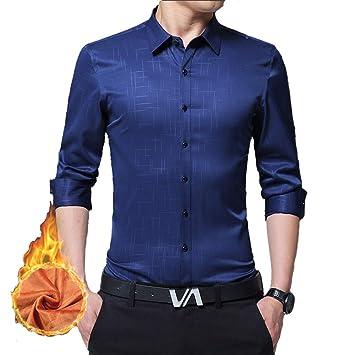 a4531d4a0b56e GHHYU ERYT Camisas de Lana de Color Puro para Hombres