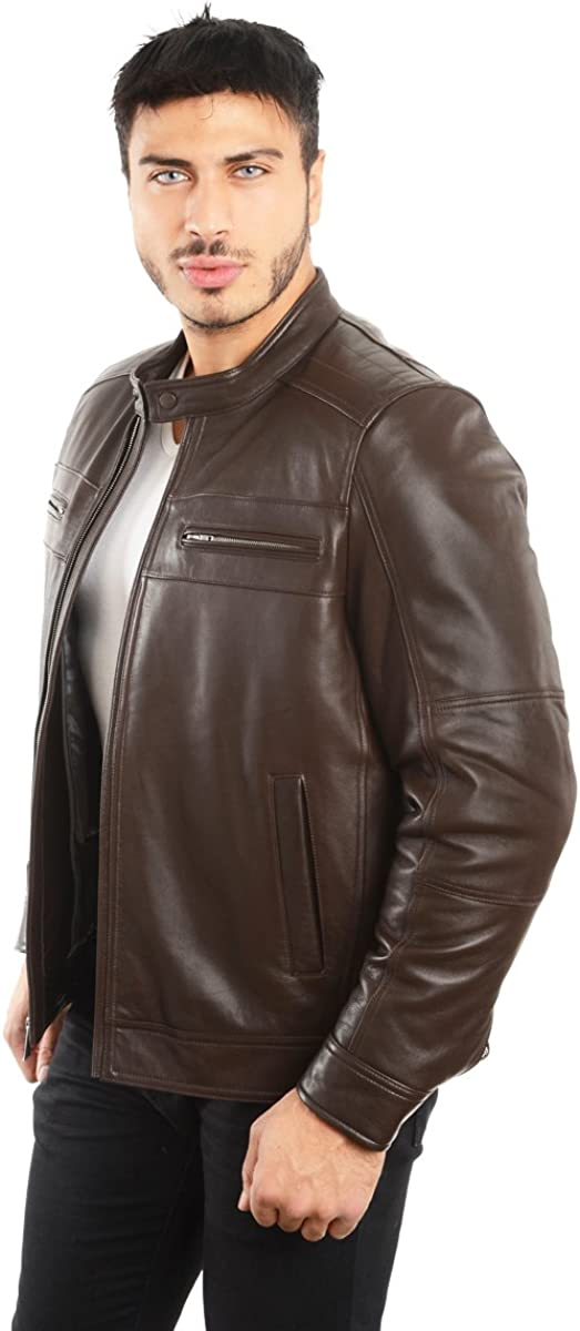 REED EST 1950 Mens Genuine Lambskin Leather Biker Jacket