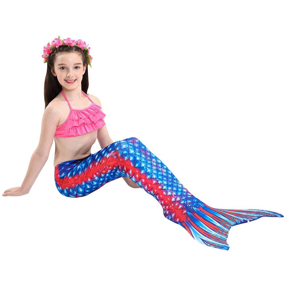 Mermaid Swimsuit Childrens Girls Mermaid Tail Swimsuit Bikini Split Swimsuit Three-Piece Set