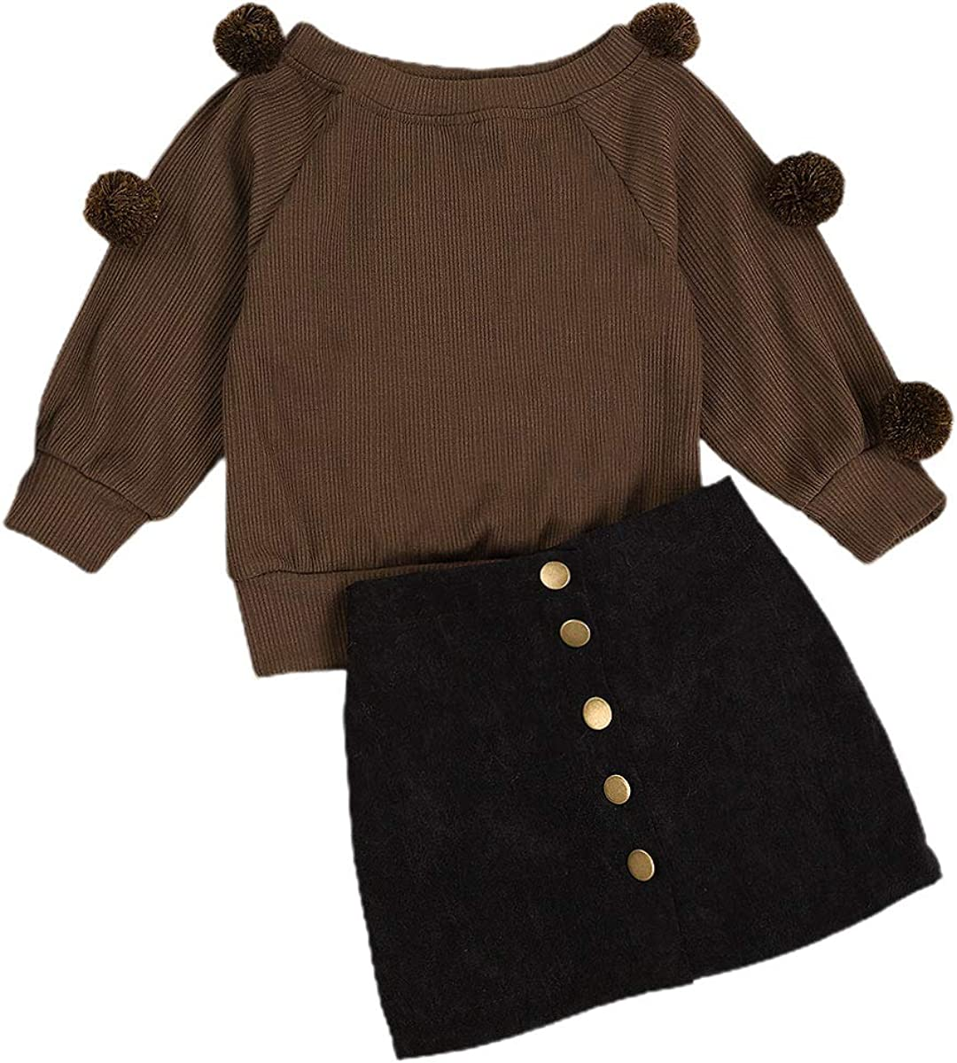 Xuuly Toddler Baby Girl Skirt Outfit Long Sleeve Solid Color Knit T-Shirt Top +Mini Skirt Dress Fall Winter 2Pcs Clothes Set