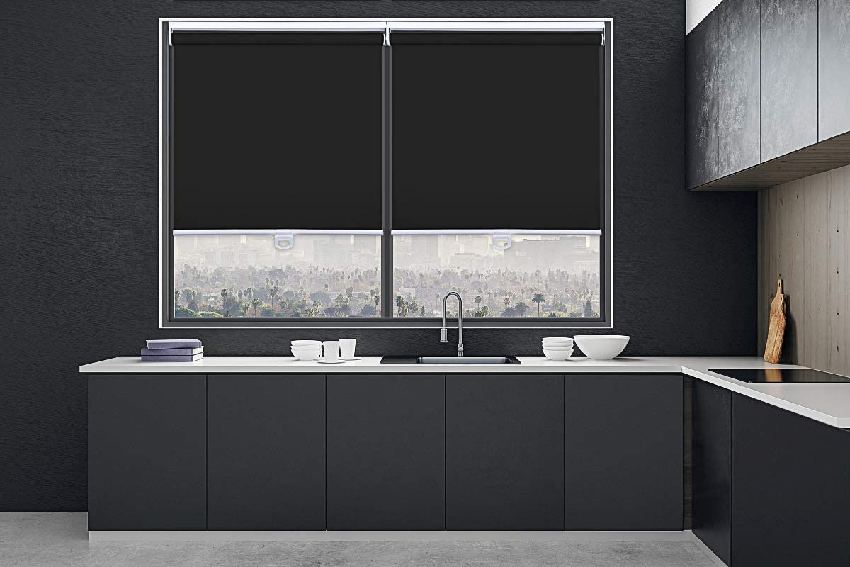 MiLin Window Shades Cordless 100 Blackout Roller Shades, Fast Delivery Room Darkening Spring Window Blinds Waterproof Customize Size for Home Office – Classic Black 62 W x 48 H