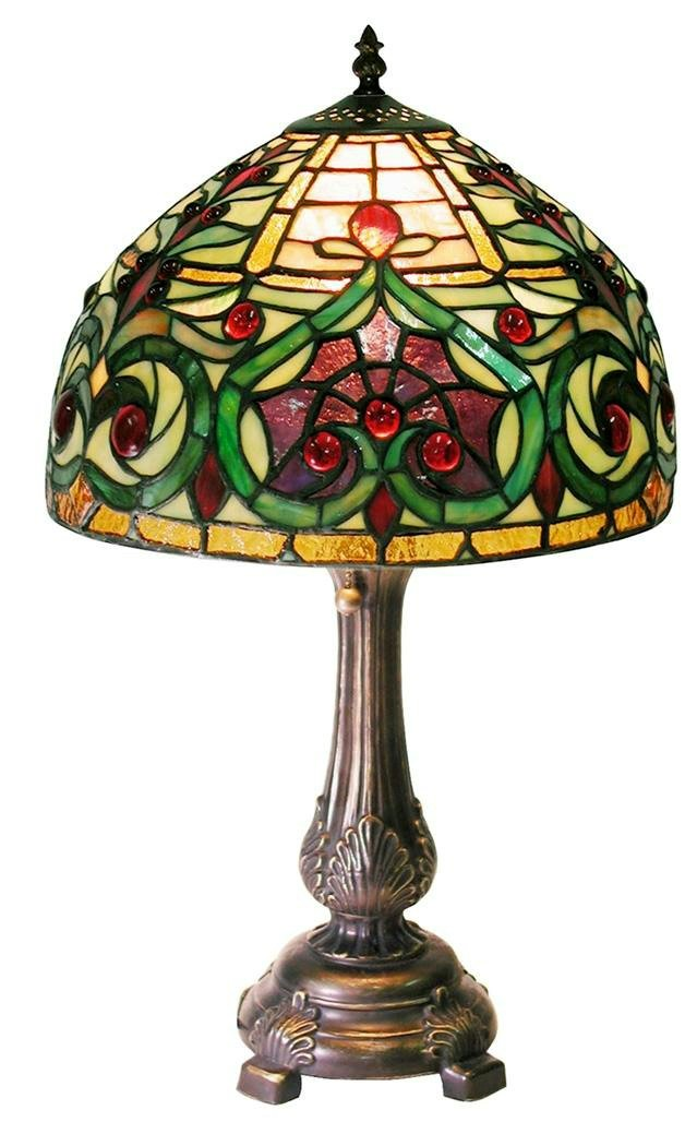 Warehouse of Tiffany  Tiffany-style Jeweled Petite Table Lamp, Green