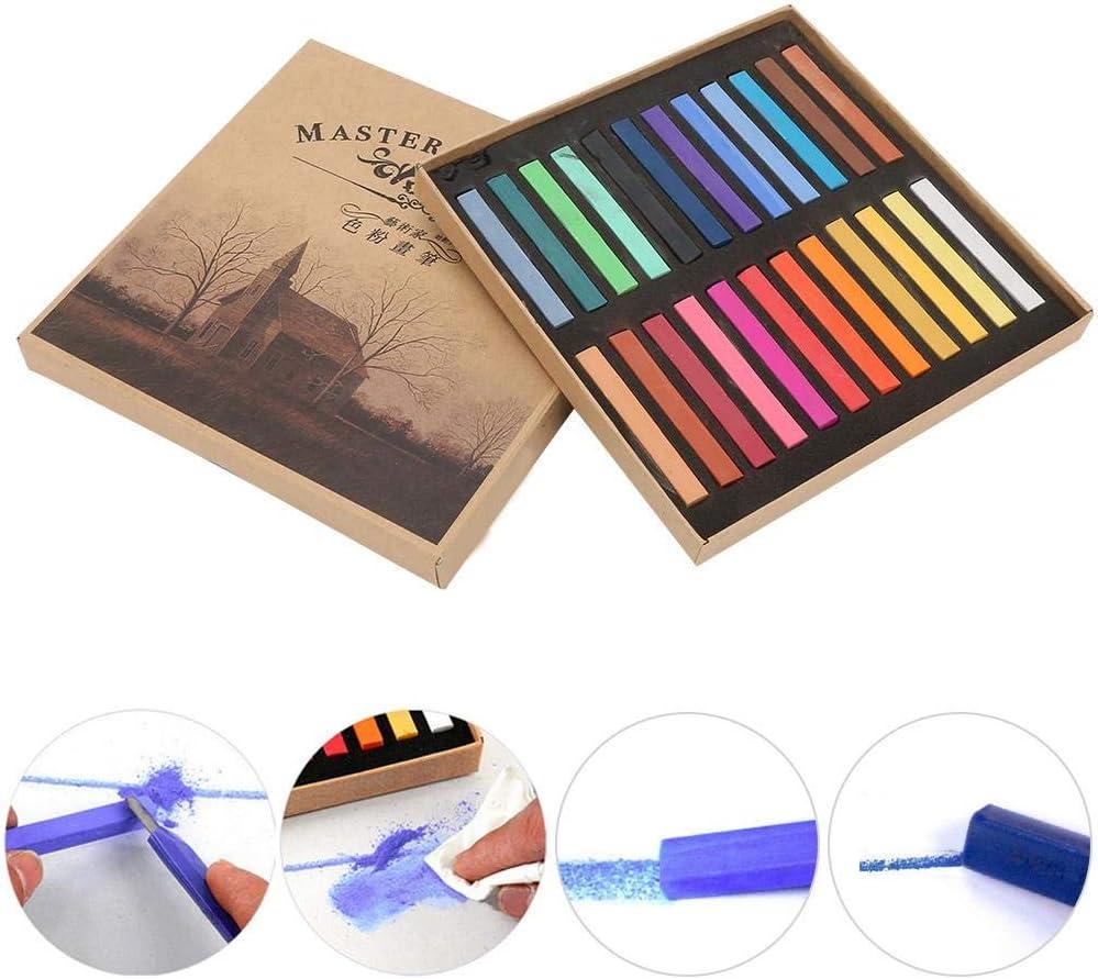 24 St/ück Professionelle Pastellkreiden Quadratische Pastellkreide Set Pasteo Artist Pastell-Set Box mit 12//24//36//48 Verschiedenen Farben