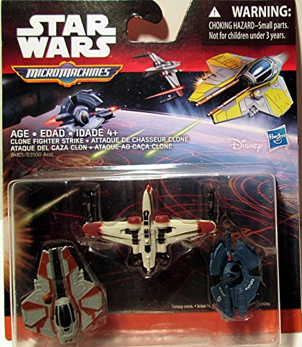 Star Wars Micromachines CLONE FIGHTER STRIKE -Arc-170 Fighter Obi-Wan Kenobi's Jedi Interceptor Droid Tri-Fighter (Wars Star 170 Clone Arc)