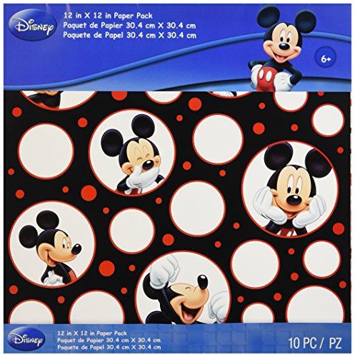 EK Success Mickey Mouse Black/White/Red Paper Pack, 10 Sheets, 2 Each/5 Textured Papers