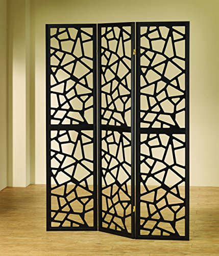 Coaster Home Furnishings 3-Panel Intricate Mosaic Screen Black