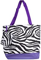 Ever Moda Purple Zebra Tote Bag, Large 17-inch