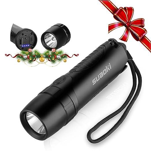 Suaoki TC7 - 5200mAh Linterna LED Recargable Impermeable IPX6 (Cargador Batería Externa, Martillo de Emergencia, Cortador cinturón seguridad, Carga ...