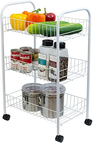 Home Basics Multi-Purpose Rolling Metal Kitchen Fruit Vegetable Trolley Cart
